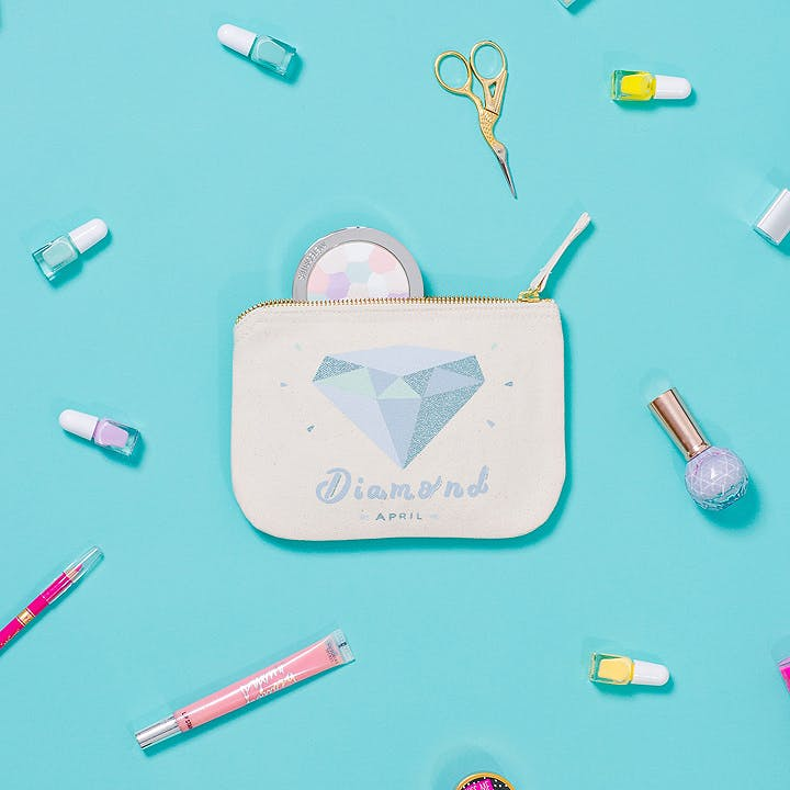 Diamond birthstone pouch