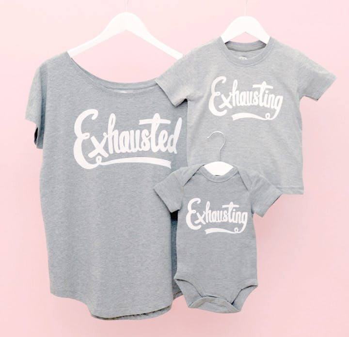 exhausted exhausting t-shirt set
