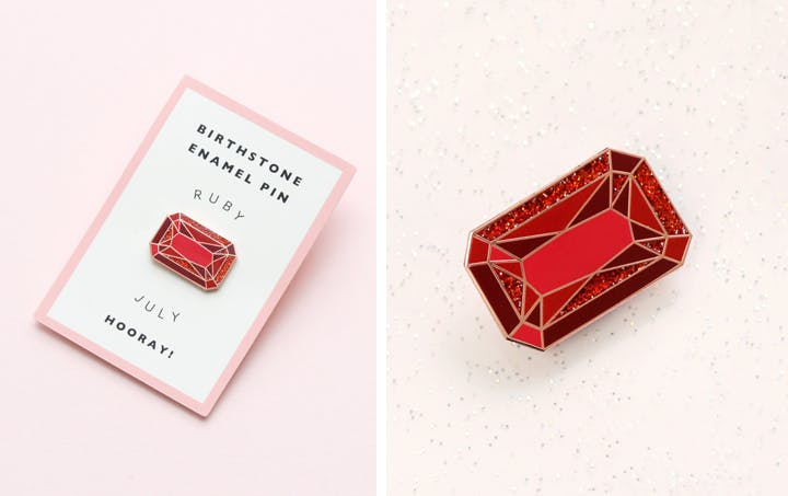 July ruby birthstone enamel pin