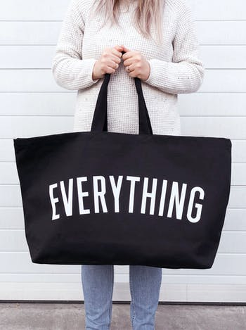 EVERYTHING Black Really Big Bag | Slogan Totes | Alphabet Bags