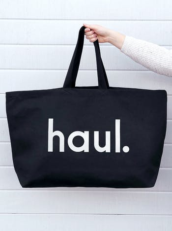 Haul Black Really Big Bag | Slogan Totes | Alphabet Bags