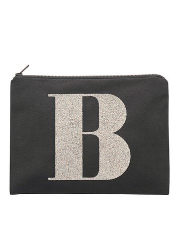 Personalised Black Glitter Initial Pouch | Black Canvas Pouch | Alphabet Bags