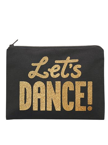 Let's Dance Black Canvas Pouch | Black Glitter Pouch | Alphabet Bags