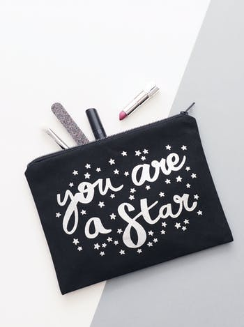 You Are A Star Black Canvas Pouch | Thank You Gifts | Alphabet Bags