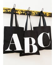 Initial Cotton Tote Bag - Black