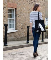 Initial Cotton Tote - Black - Seconds