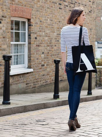 Black Initial Tote Bag | Personalised Bags & Pouches | Alphabet Bags