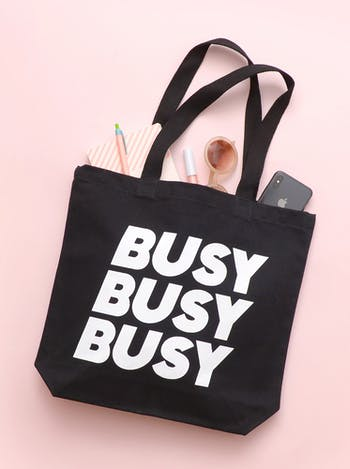 Busy Busy Busy Tote Bag | Slogan Totes | Alphabet Bags