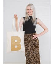 Initial Cotton Tote Bag - Gold Glitter - Second
