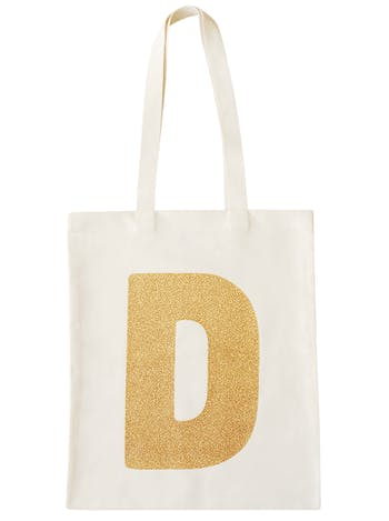 Gold Glitter Initial Tote | Canvas Shopper | Alphabet Bags