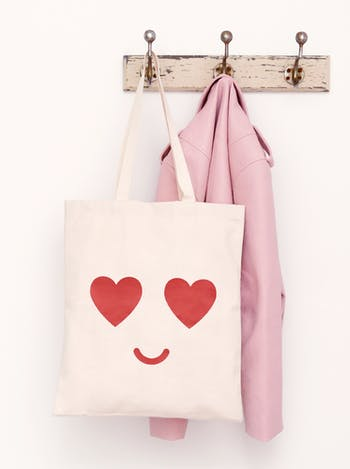 Heart Eyes Tote Bag | Heart Canvas Shopper | Alphabet Bags