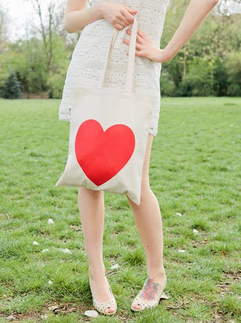 Red Heart Tote Bag | Heart Shopping Tote | Alphabet Bags