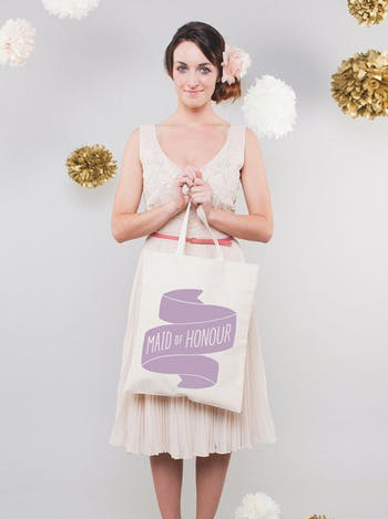 Maid of Honour Tote Bag | Canvas Wedding Tote | Alphabet Bags