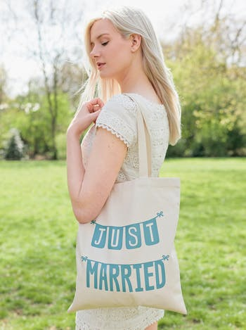 Just Married Tote Bag | Honeymoon Canvas Bag | Alphabet Bags
