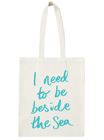 I Need To Be Beside The Sea Cotton Bag   Beach Totes   Alphabet Bags