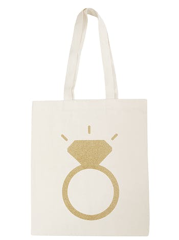 Gold Glitter Ring Tote Bag | Engagement Cotton Bag | Alphabet Bags