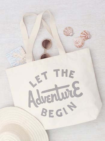 Let The Adventure Begin Canvas Bag | Travel Shoulder Bags | Alphabet Bags