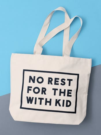 No Rest For The With kid Large Canvas Bag | Gifts For New Mums | Alphabet Bags