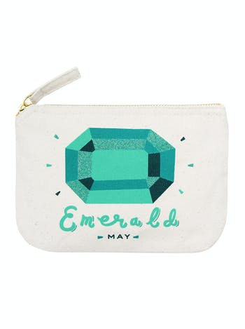 Emerald Birthstone Canvas Pouch | Birthday Gift For Her | Alphabet Bags
