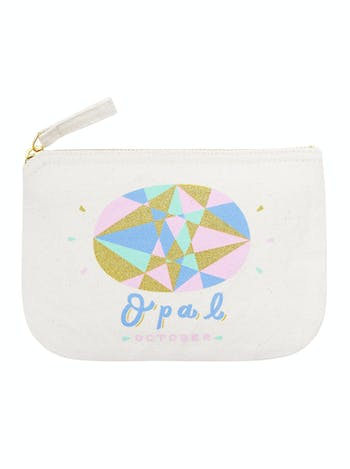 Opal Birthstone Canvas Pouch | Birthday Gift For Her | Alphabet Bags