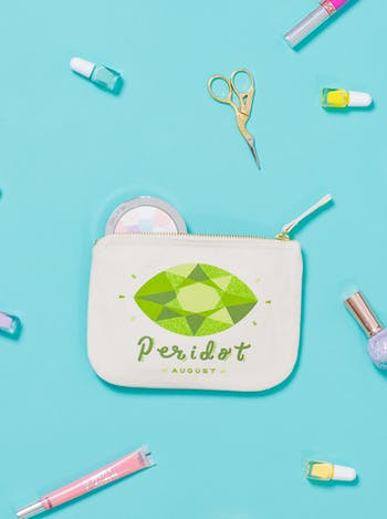Peridot Birthstone Canvas Pouch | Birthday Gift For Her | Alphabet Bags