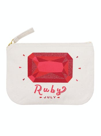 Ruby Birthstone Canvas Pouch | Birthday Gift For Her | Alphabet Bags