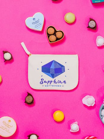 Sapphire Birthstone Canvas Pouch | Birthday Gift For Her | Alphabet Bags
