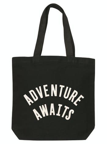 Adventure Awaits | Black Canvas Bag | Alphabet Bag