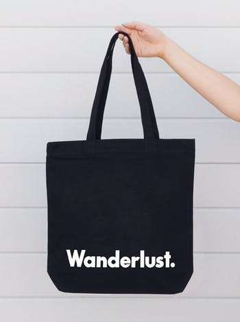 Wanderlust Tote Bag | Black Canvas Bag | Alphabet Bags