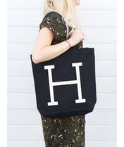 Initial Black Canvas Tote Bag