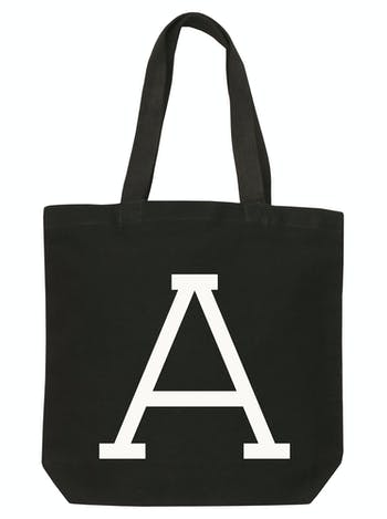 Personalised Black Canvas Initial Tote | Black Canvas Bag | Alphabet Bags