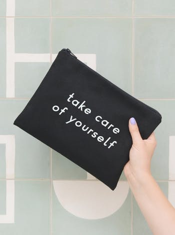 Take Care of Yourself Black Pouch | Unique Gifts for New Mums | Alphabet Bags