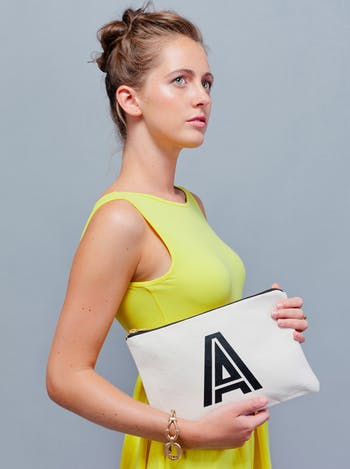 Initial Clutch Bag | Personalised Canvas Pouch | Alphabet Bags