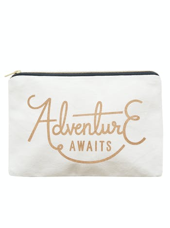Adventure Awaits Travel Pouch | Canvas Pouch | Alphabet Bags