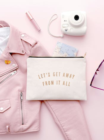Let's Get Away from it all - Large Canvas Pouch