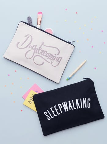 Daydreaming / Sleepwalking Double Sided Pouch | Gifts For Teens | Alphabet Bags