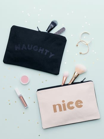 Naughty / Nice Double Sided Pouch | Stocking Fillers | Alphabet Bags