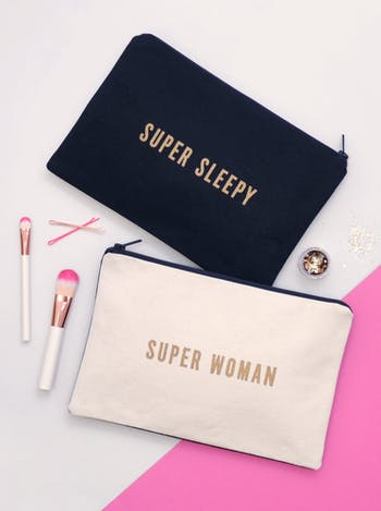 Super Sleepy / Super Woman Double Sided Pouch | Gifts For Mums | Alphabet Bags