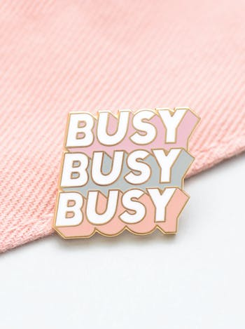 Busy Busy Busy | Enamel Pin | Alphabet Bags