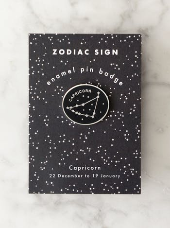 Capricorn Zodiac Enamel Pin | Birthday Gifts | Alphabet Bags