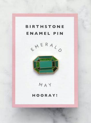 Emerald Birthstone Pin | Birthday Gift | Alphabet Bags