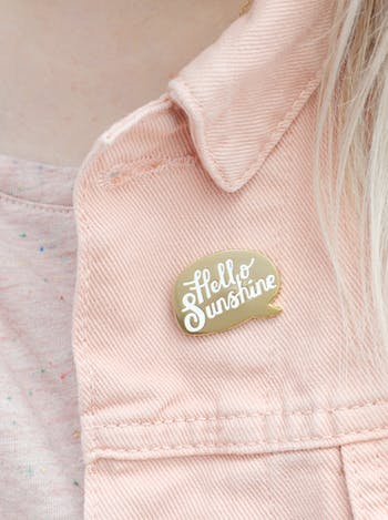 Hello Sunshine Enamel Pin | Hard Enamel Pins | Alphabet Bags