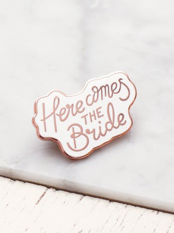 Here Comes the Bride Enamel Pin | Hen Party Favours | Alphabet Bags
