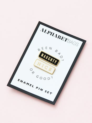 Naughty/Nice Pin Set | Enamel Pin Set | Friendship Jewellery | Alphabet Bags