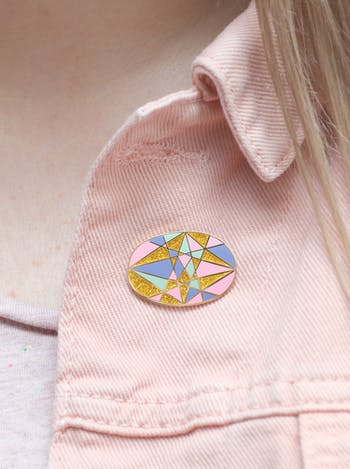 Opal Gemstone Pin | Birthday Gift | Alphabet Bags