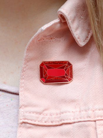 Ruby Birthstone Pin | Birthday Gift | Alphabet Bags