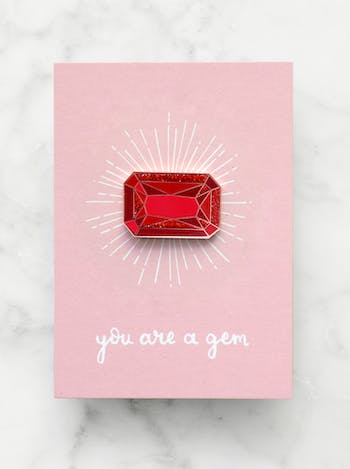 Ruby Gemstone Pin | Birthday Gift | Alphabet Bags