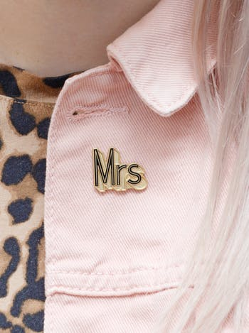 Mr and Mrs Enamel Pins | Wedding Bride and Groom Gifts | Alphabet Bags