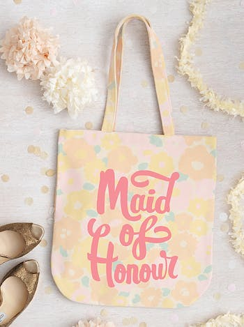 Floral Maid of Honour Tote Bag | Bridesmaid Canvas Bag | Alphabet Bags