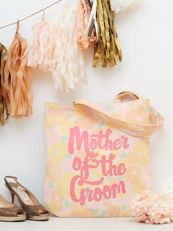Floral Mother of the Groom Tote Bag | Mother of the Groom Canvas Bag | Alphabet Bags